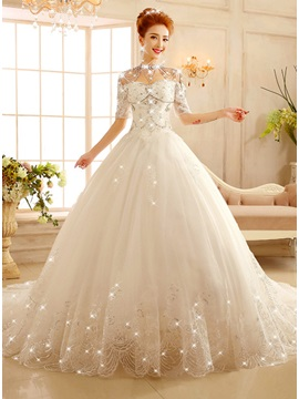 Off the Shoulder Half Sleeve Ball Gown Crystal Appliques Wedding Dress