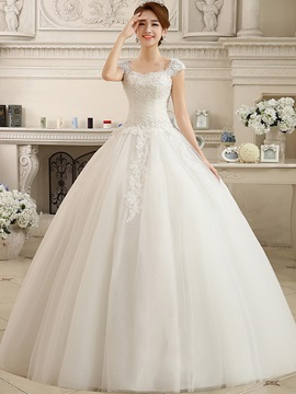 Cap Sleeve Appliques Beaded Ball Gown Wedding Dress