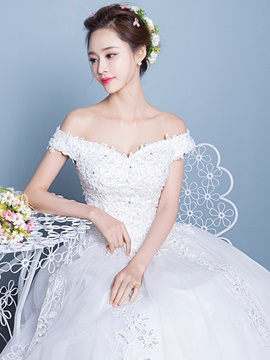 Fair Appliques Sequins Off the Shoulder Long Wedding Dress