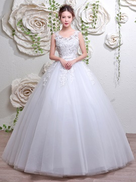 Buy Ball Gown Straps V Neck Appliques Lace-Up Wedding Dress