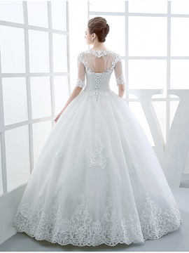 Appliques Beaded Ball Gown Wedding Dress with Long Sleeves