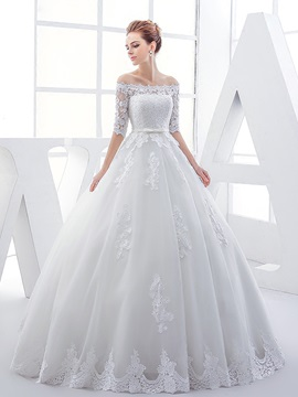 Glamorous Off The Shoulder Half Sleeves Appliques Ball Gown Wedding Dress