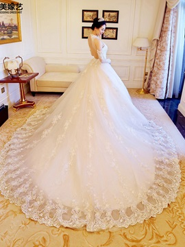 Sumptuous High Neck Appliques Beaded Sequins Backless Wedding Dress