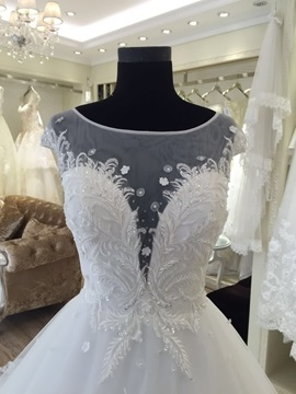 Spectacular Illusion Neck Appliques Ball Gown Cap Sleeves Wedding Dress