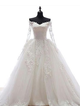 Off The Shoulder Appliques Ball Gown Wedding Dress With Sleeves