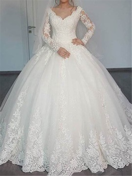 Long Sleeves Appliques Muslim Wedding Dress