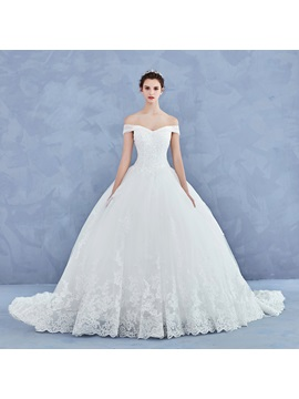 Stunning Off the Shoulder Appliques Ball Gown Beaded Wedding Dress