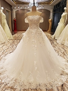 Sumptuous Appliques Sequins Off the Shoulder Ball Gown Wedding Dress