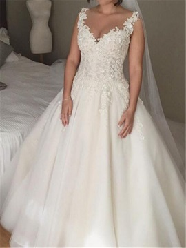 Ball Gown Straps Appliques Button Sheer Back Wedding Dress