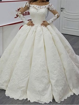 Bateau Neck Long Sleeves Appliques Wedding Dress