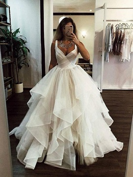 Straps Tiered Ball Gown Wedding Dress 2019