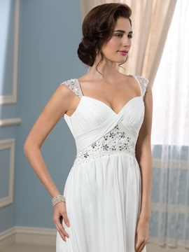 A-Line Straps Beading Pleated Empire Waist Wedding Dress