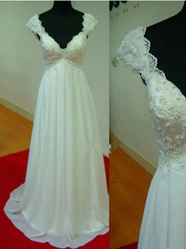 Beaded Lace V-Neck Cap Sleeve A-Line Chiffon Wedding Dress