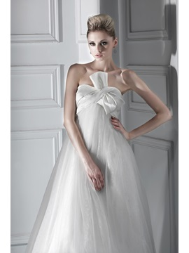 Empire Waist Bowknot Sweetheart Maternity Bridal Gown