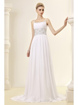Gorgeous Empire Spaghetti Straps Beaded Court Train Dasha's Wedding Dress
