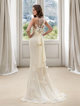 Style Floor Length Flowers Sheath Beach Wedding Dress