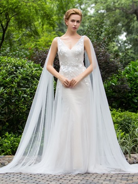 Attractive V-Neck Appliques Sheath Wedding Dress
