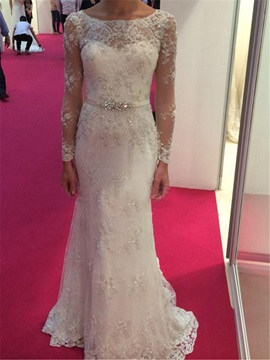 Graceful Sheath Lace Wedding Dress with Long Sleeve