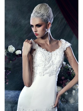 Brilliant Sheath/Column Chapel Train Square Sleeveless Lace Dasha's Wedding Dress
