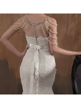Noble Mermaid Strapless Empire Court Train Lace Wedding Dress