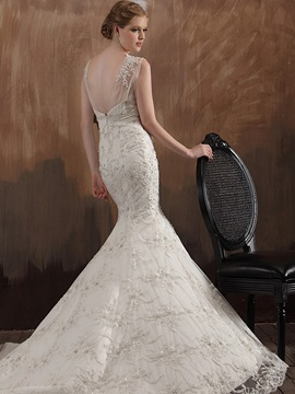 Gorgeous Mermaid Chapel Train Lace Straps Appliques Wedding Dress