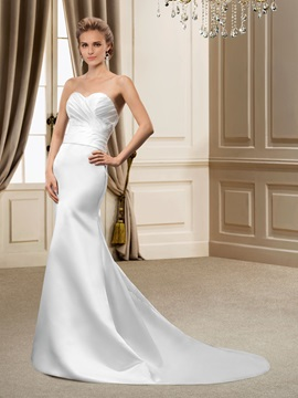Gorgerous Scoop Neck Half Sleeves Trumpet Court Train Wedding Dress