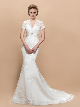 Stylish V-Neck Short Sleeves Appliques Trumpet Court Train Wedding Dress