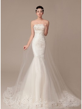 Dazzling Beaded Strapless Mermaid Lace Wedding Dress