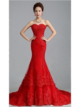 Red Wedding Dresses.Beaded Appliques Mermaid Red Wedding Dress