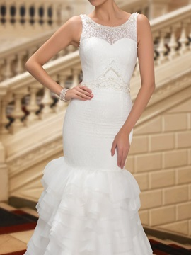 Dazzling Button Zip-up Beaded White Mermaid Lace Wedding Dress