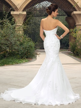 Strapless Beaded Appliques Mermaid Wedding Dress