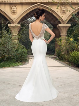 Elegant Cap Sleeves Backless Mermaid Long Wedding Dress