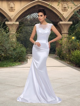 Stylish Beaded Lace Sheer Jewel Neck Mermaid Floor Length White Wedding Dress