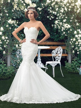 Lace Appliques Mermaid Wedding Dress (Including the Belt)