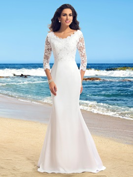 Lace Top 3/4 Length Sleeve Beaded Trumpet Beach Wedding Dress