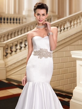 Strapless Beaded Sweetheart Mermaid White Wedding Dress