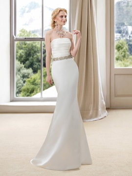 Strapless Sweetheart Floor Length Satin Mermaid Wedding Dress