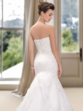 Strapless Beaded Sweetheart Lace Appliques Mermaid Wedding Dress