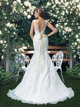 Scoop Neck White Mermaid Wedding Dress with Rhinestone Beaded Sash Ribbon