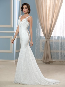 Sexy Backless V-Neck Mermaid Lace Wedding Dress