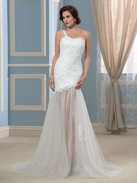 Sexy Sheer Tulle Skirt One-Shoulder Lace Beach Wedding Dress