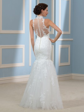 Choker High Neck Tulle Lace Mermaid/Trumpet Wedding Dress