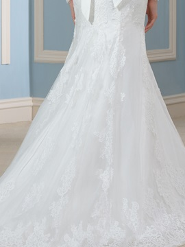 Desinger Beaded Lace Long Sleeve Mermaid Wedding Dress