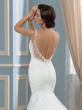 Spaghetti Straps Backless Beaded Lace Mermaid Wedding Dress