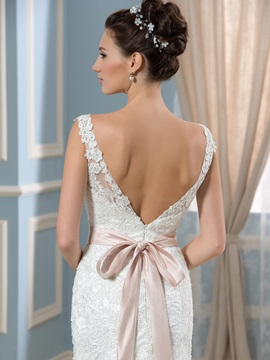 Lace Backless Beading Sash Mermaid Long Wedding Dress