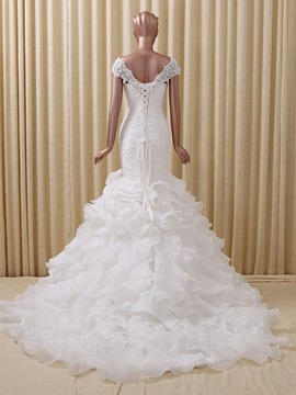 Floor Length Trumpet Ruffles Color Wedding Dress