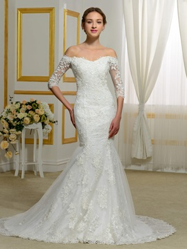 Exceptional Off the Shoulder Appliques Mermaid Wedding Dress with Half Sleeves