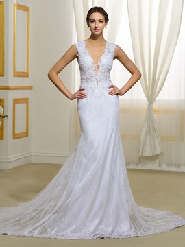 Sexy V Neck Sheer Back Mermaid Lace Wedding Dress