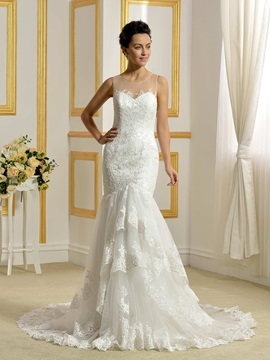 Illusion Back Buttons Zip-up Mermaid Ivory Wedding Dress