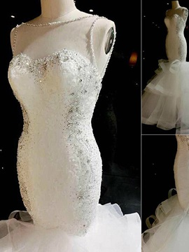 Sheer Neck Beaded Mermaid Wedding Dress
